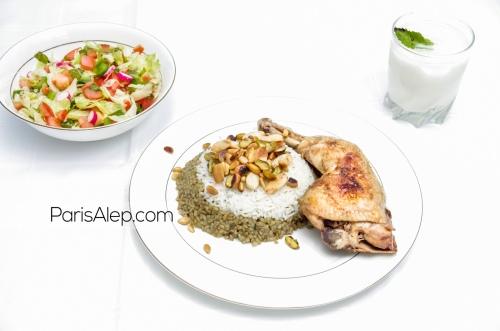 frikeh poulet salade ayran