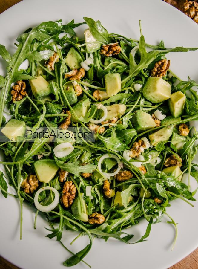 Salade avocat roquette noix