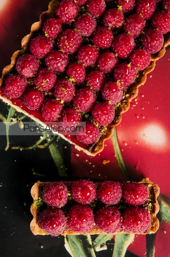 Tarte framboises pistaches