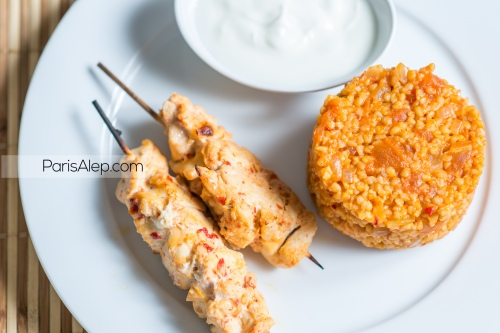 boulgour tomates brochettes chich taouk